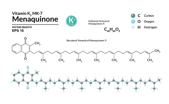 Chemical Structure and Formula of Menaquinone-7 (Vitamin K2 MK-7).