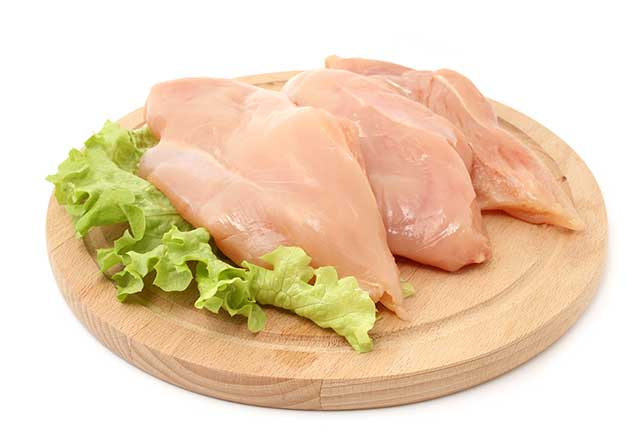 Chicken Breasts On a Wooden Circular Board.