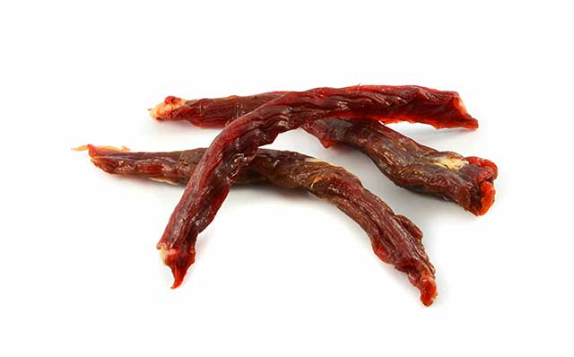 Long Slices of Beef Jerky (Dried Meat).