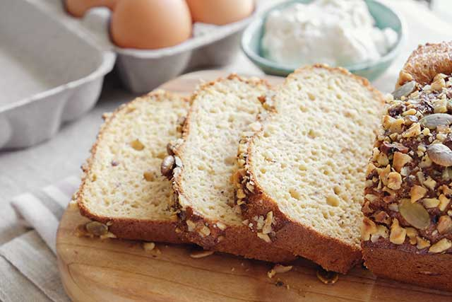 Low Carb Foods Including Almond Keto Bread and Eggs.