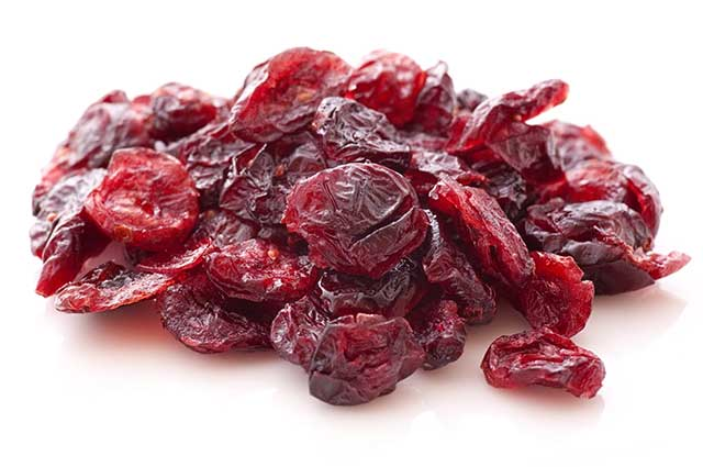 Pile of Dried Sweetened Cranberries.