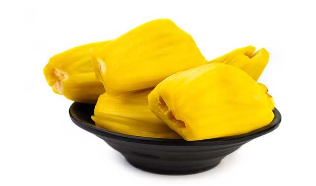 Ripe Slices of Jackfruit In a Black Bowl.