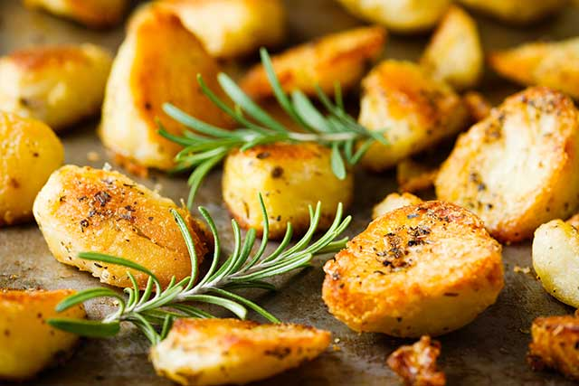 Roast Potatoes Oven-Roasted In Goose Fat.