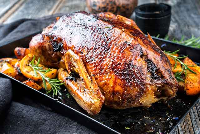 Roasted Goose On An Oven Tray.