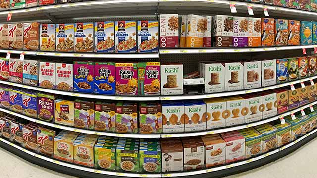 Wide Variety of Cereals High In Oxalates On Supermarket Aisle.