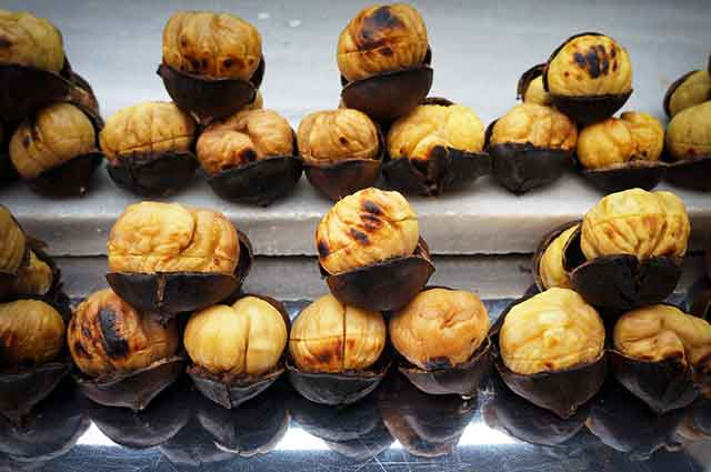 Roasted and Shelled European Sweet Chestnuts.