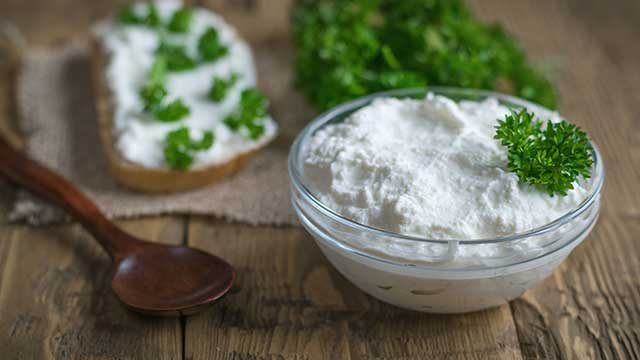 Soft Cream Cheese In a Glass Bowl.