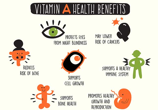 Infographic Showing the Health Benefits of Vitamin A.