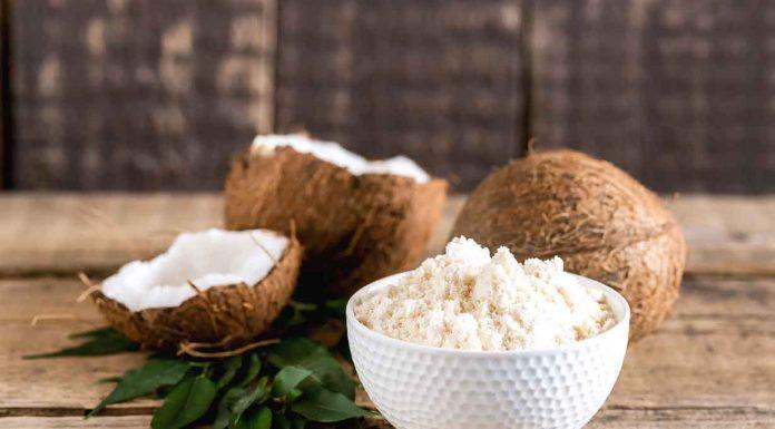 Bowl of Coconut Flour Next To Coconut