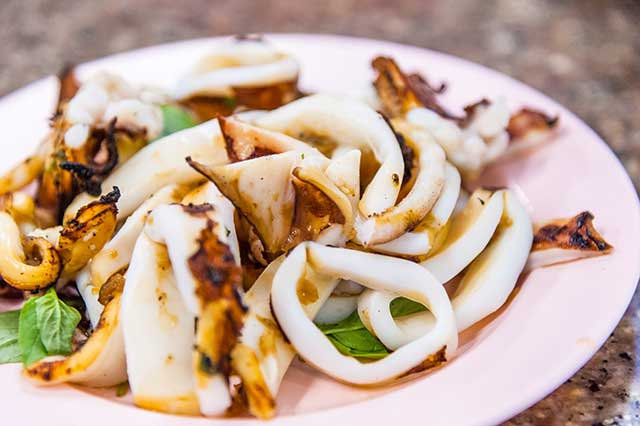 Grilled Calamari On a Plate.