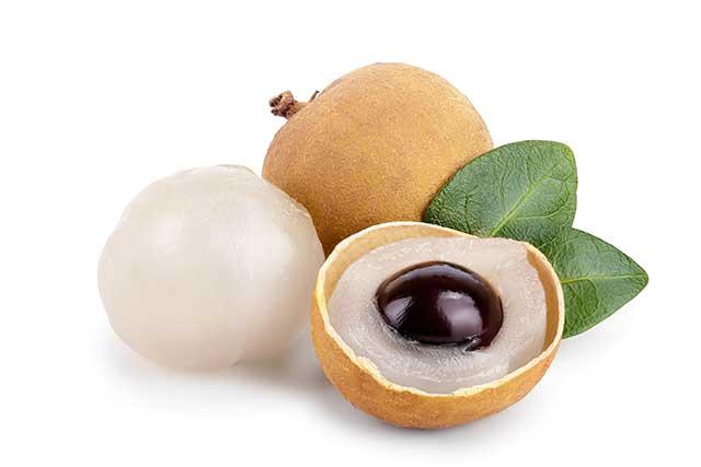 Whole and Half Longan Fruit (Dragon's Eye Fruit).
