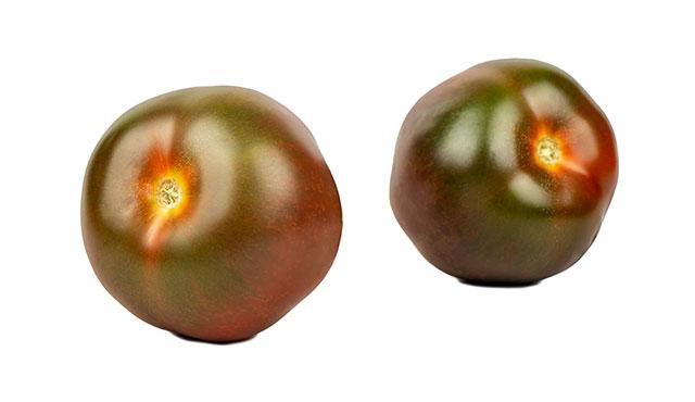 Two Kumato Tomatoes.