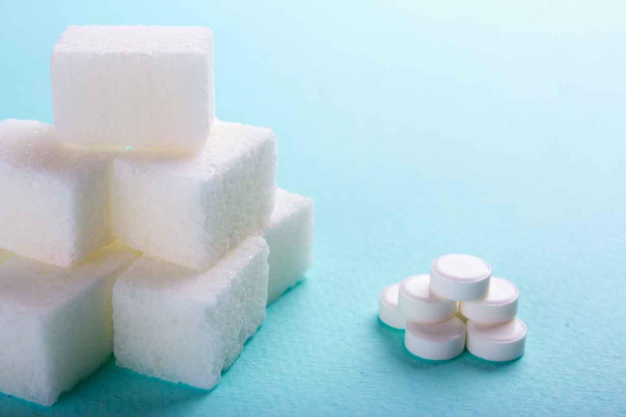 Various Sweeteners - Sugar Substitutes and Sugar Cubes.