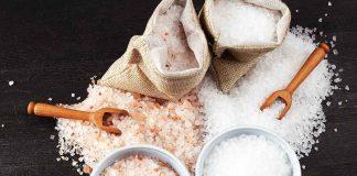 Himalayan and Sea Salt Crystals On Table.