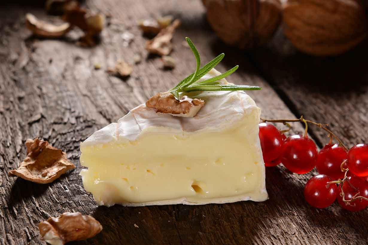 Slice of Brie Cheese With Cranberries.