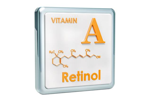 The Structure and Name of Vitamin A (Retinol).