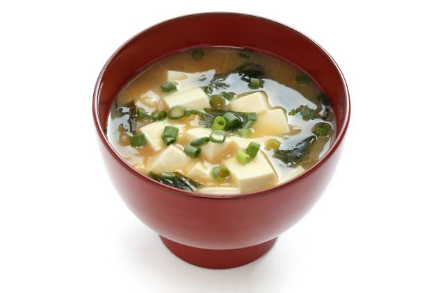 Japanese Miso Soup In a Bowl.