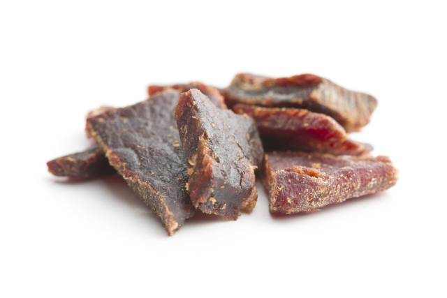 Pieces of Dried Beef Jerky.