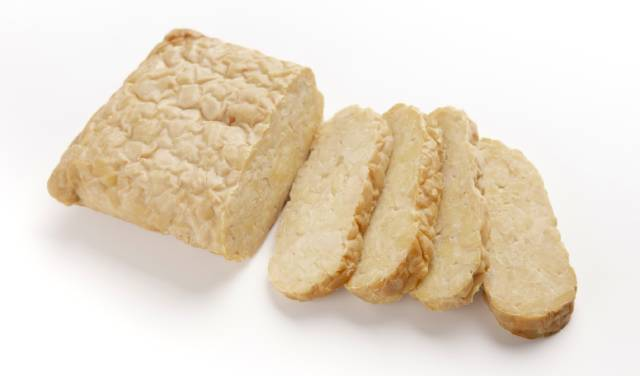 Slices of Indonesian Tempeh (Fermented Soy Curd).