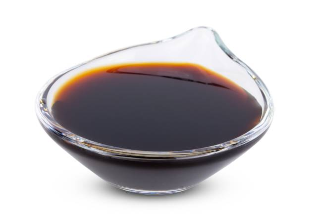 Soy Sauce In a Small Glass Bowl.
