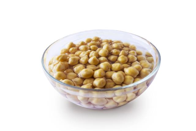 Chickpeas In a Clear Glass Bowl.