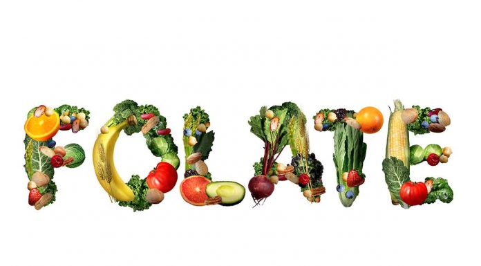 Folate Spelled Out With Various Vegetables.