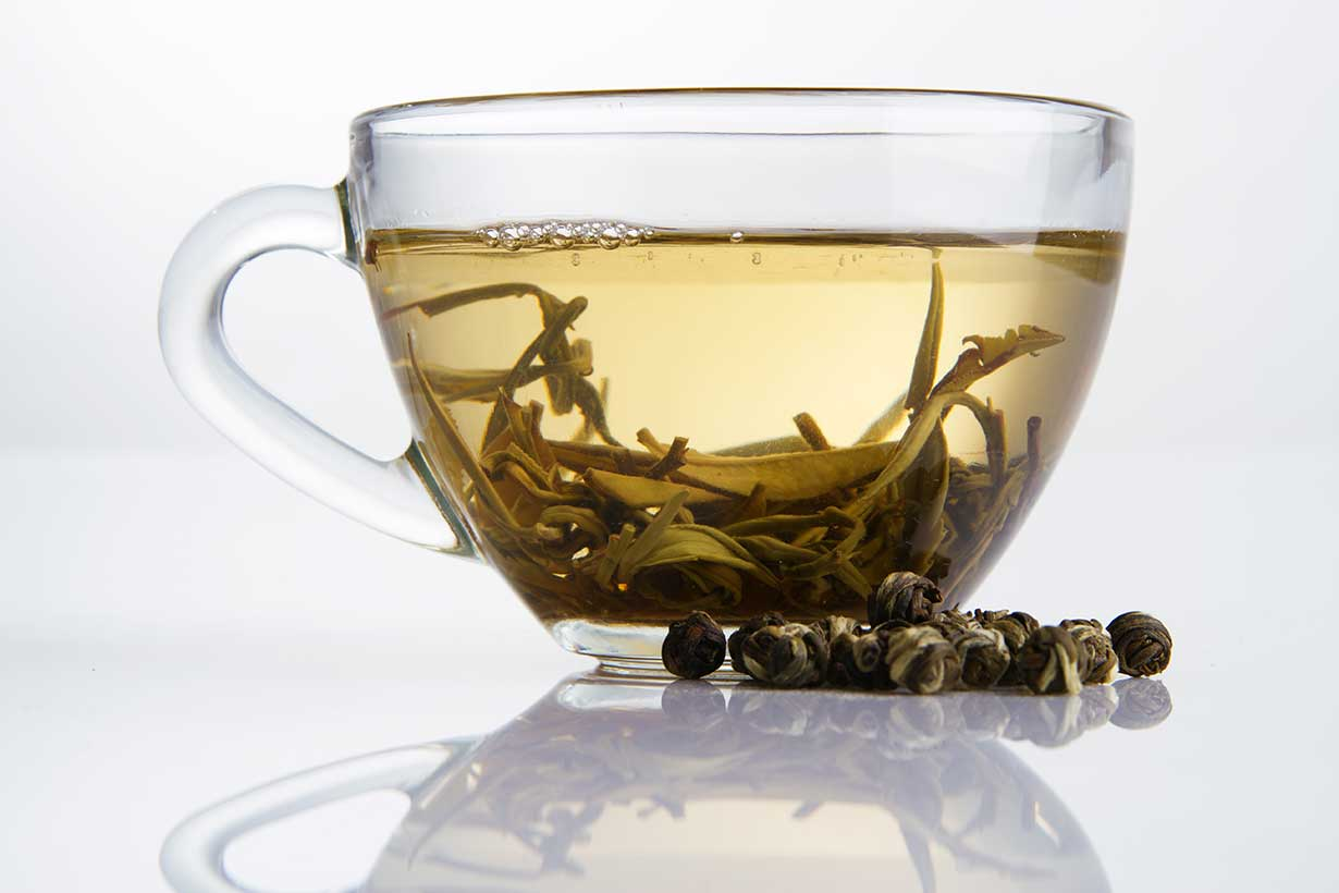 White Tea In a Glass Cup.