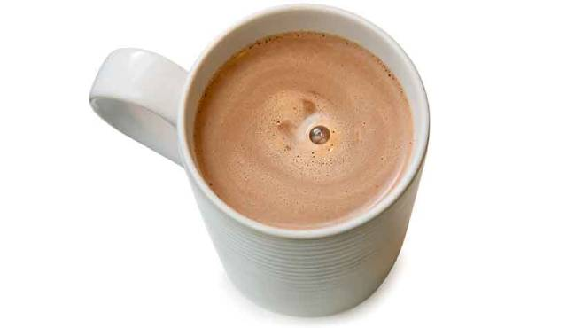 Hot Chocolate In a White Cup.