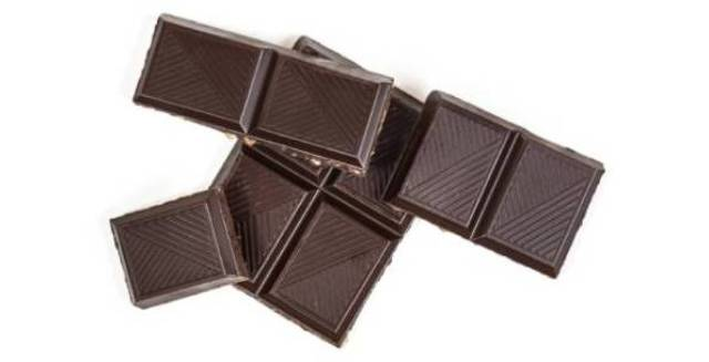 Several Pieces of Dark Chocolate.