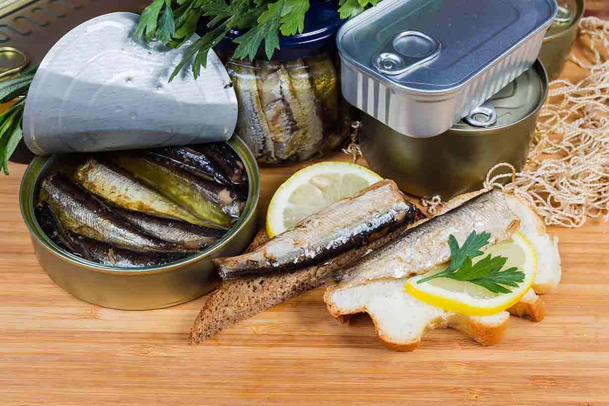 Can of Sprats and Sprats on Bread.