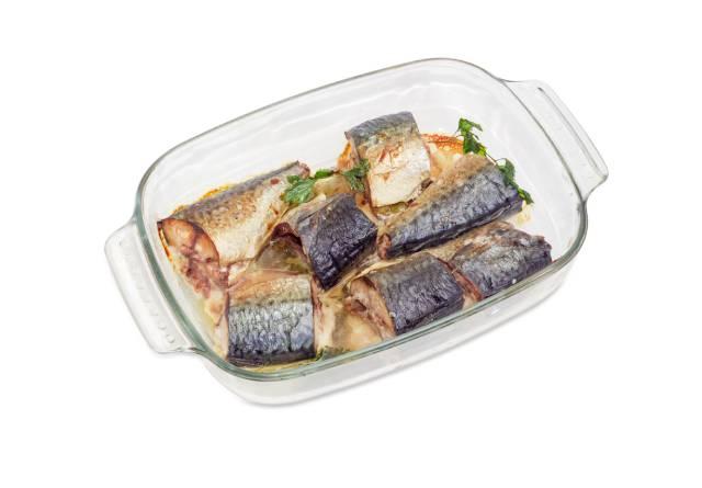 Cooked Atlantic Mackerel In an Oven Dish.