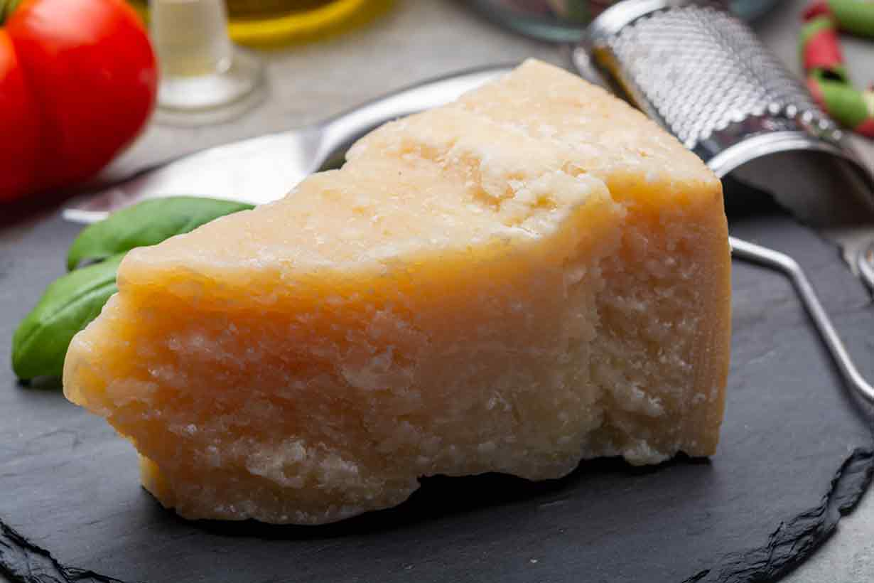 A Portion of Hard Aged Parmesan Cheese.