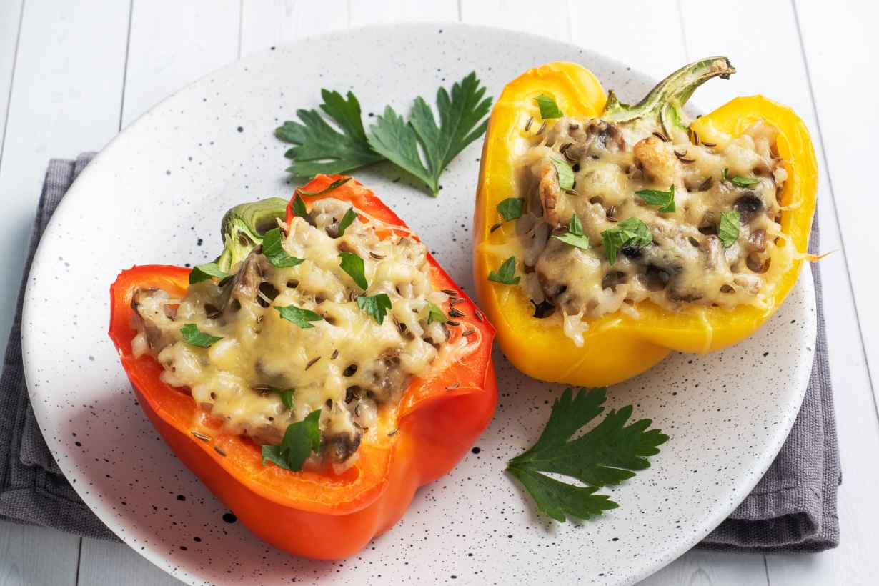 Oven-baked Stuffed Bell Peppers With Cheese.