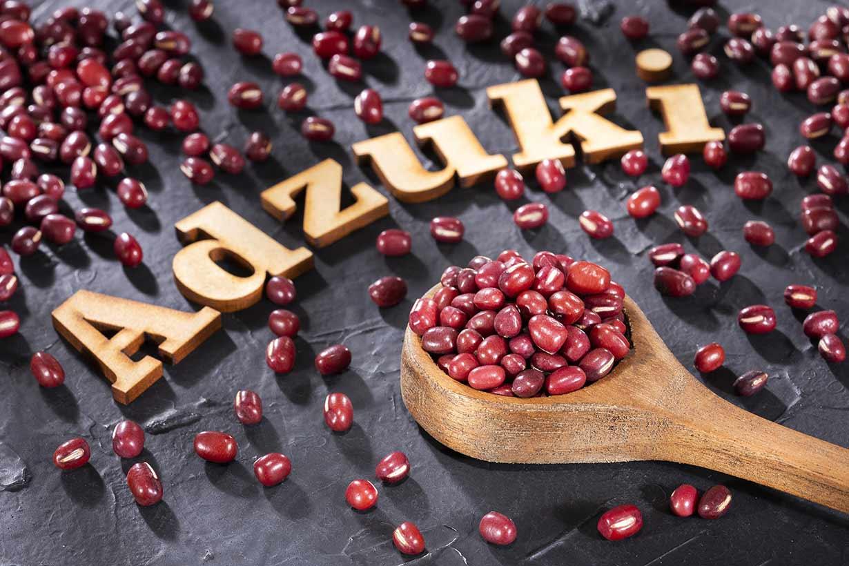 Adzuki Beans On a Wooden Spoon.