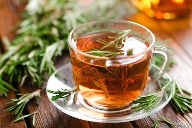 Rosemary Tea In Clear Glass Cup.
