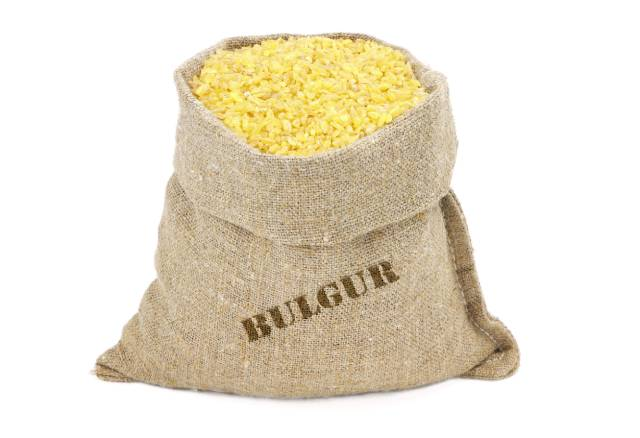 A Burlap Sack Full of Bulgur Grains.