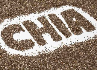 Chia Seeds Spelling Out the Word 'Chia.'
