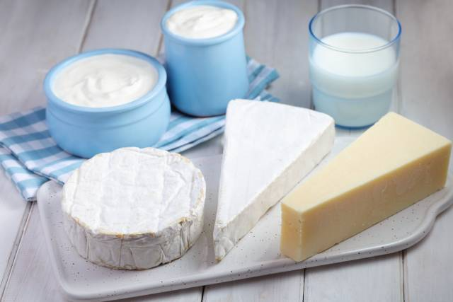 Various Dairy Foods Grouped Together.