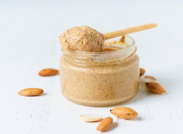 Glass Jar of Almond Butter.