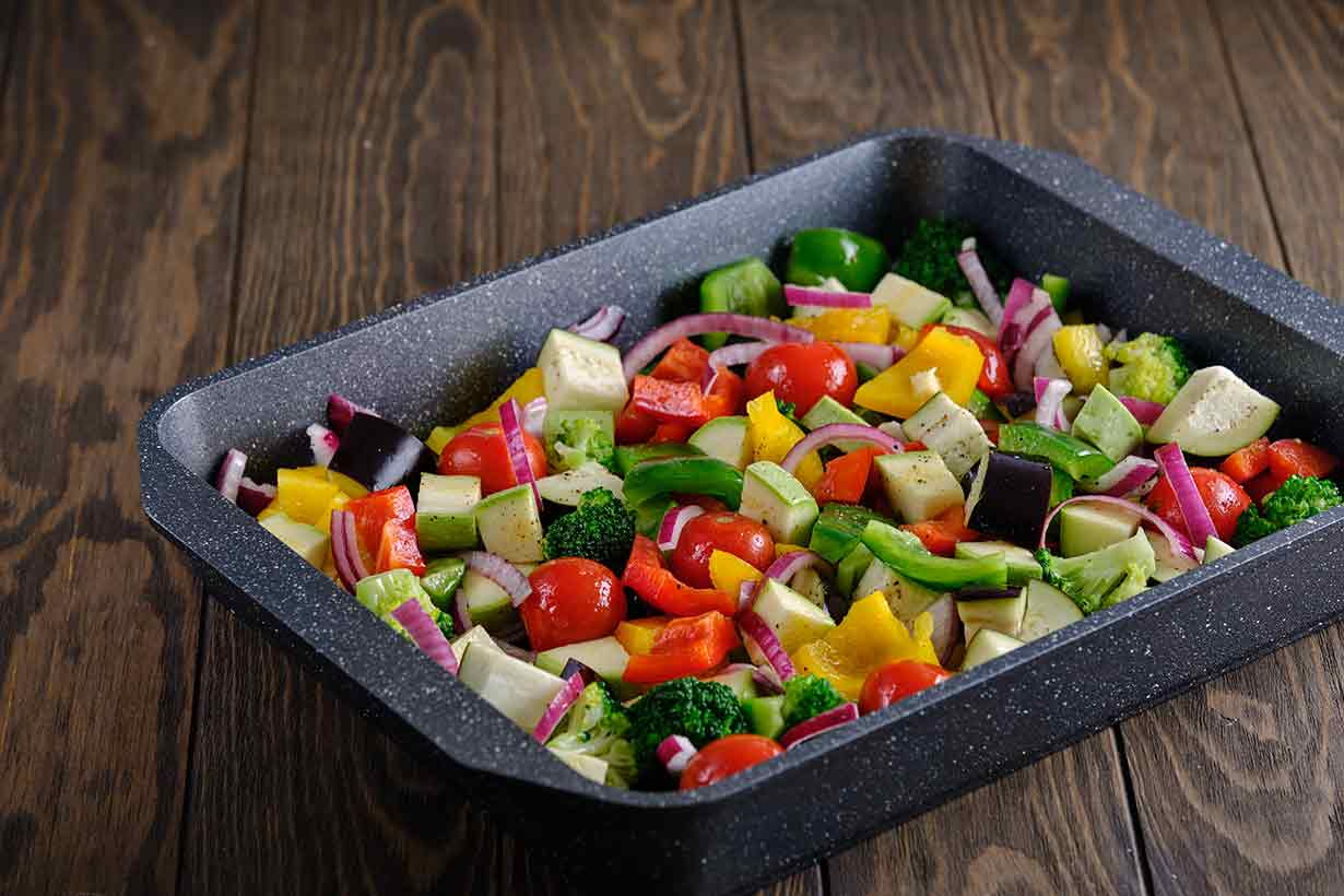 A variety of Raw Vegetables On a Cooking (Oven) Tray.