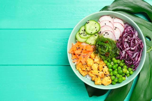 Guso (Eucheuma) Seaweed Salad In a Bowl.