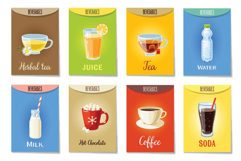Images of Different Types of Drinks (Tea, Coffee, Juice, Hot Chocolate)