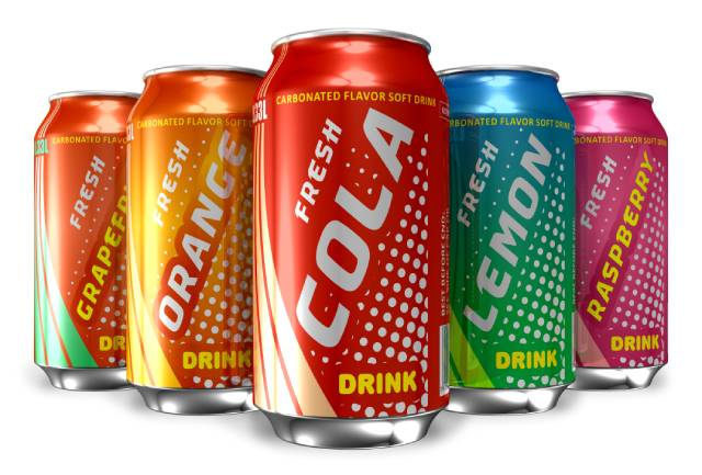 Colorful Cans of Soft Drinks.