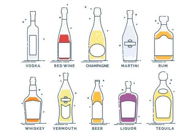 Various types of bottled alcoholic beverages - vodka, red wine, champagne, martini, etc.