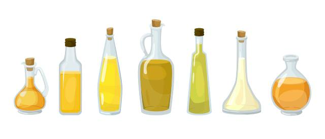 Various Different Cooking Oils.